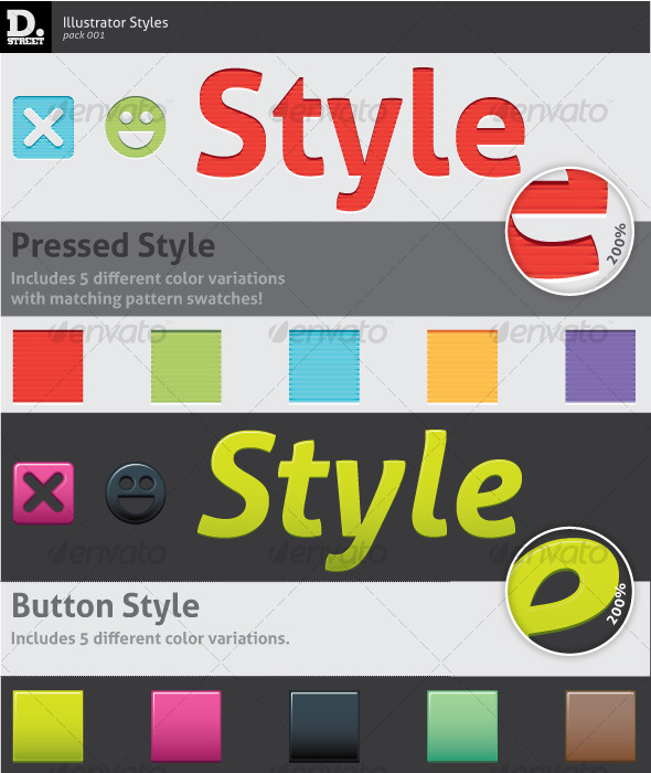 GraphicRiver Pressed & Button Illustrator Styles 121587