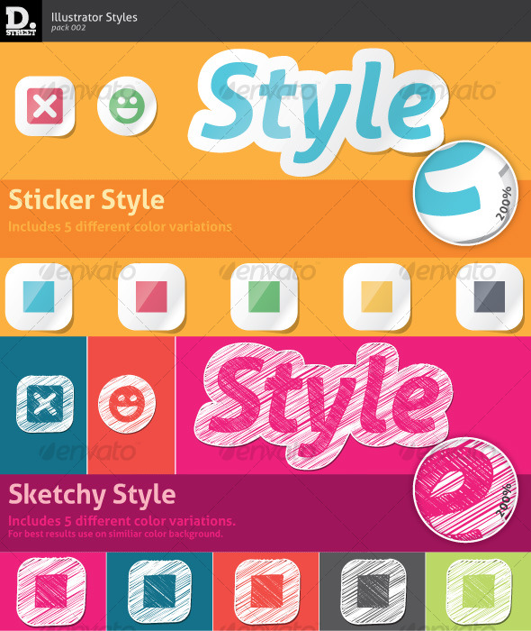 GraphicRiver Sticker & Sketchy Illustrator Styles 121588