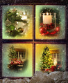 Vignettes of Christmas scenes seen through a wooden window - PhotoDune Item for Sale
