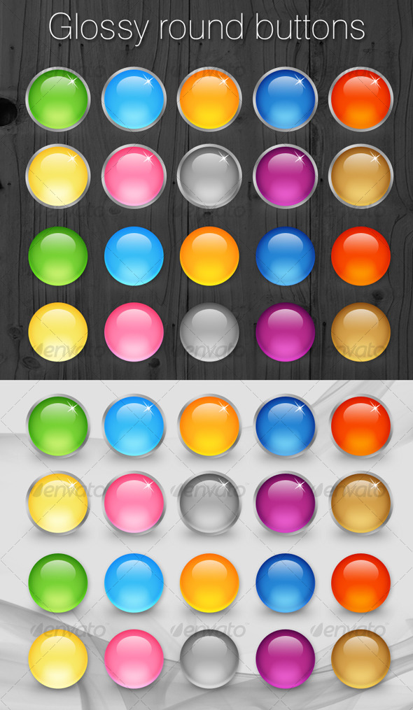 GraphicRiver Glossy Web 2.0 Round Buttons Set 122407