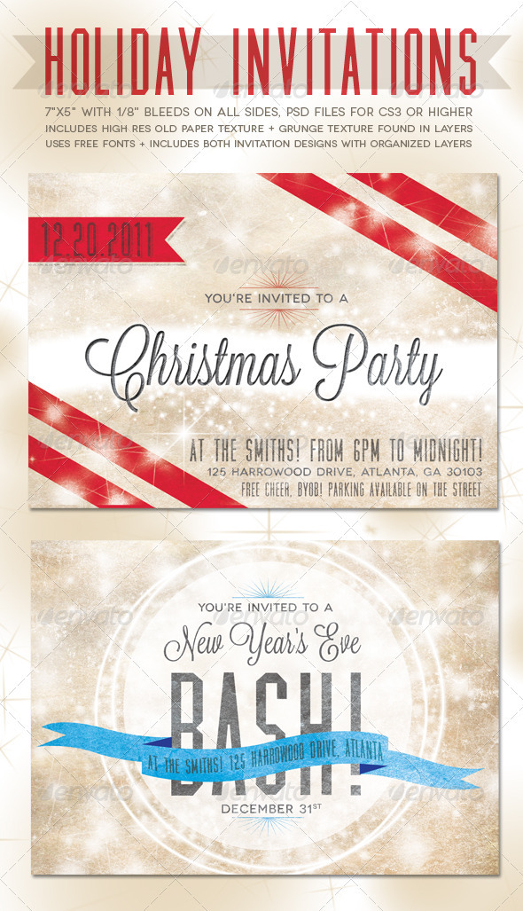 GraphicRiver Holiday Invitations 977791