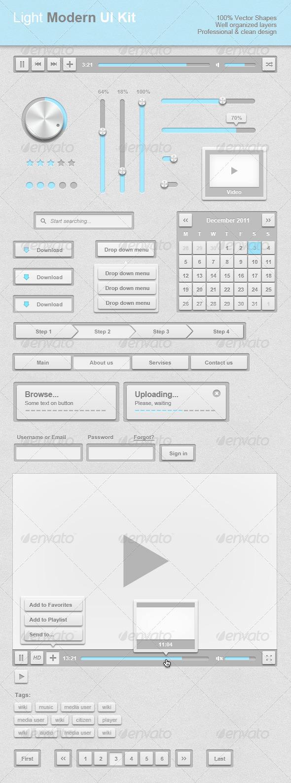 GraphicRiver Light Modern UI Kit 978732