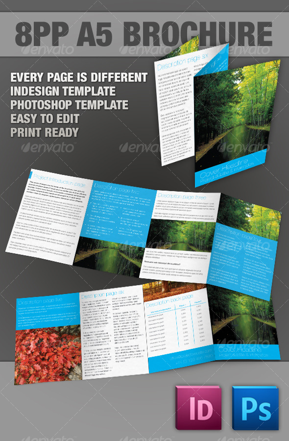 Graphic River 8pp A5 Brochure InDesign & Photoshop templates Print Templates -  Brochures  Corporate 120556