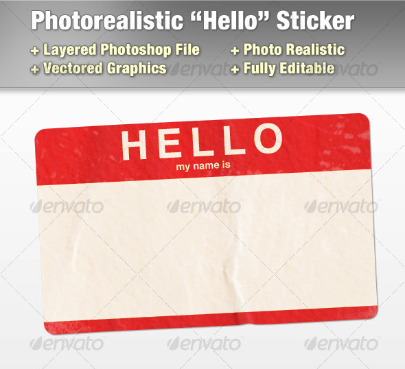 GraphicRiver Layered Photorealistic Hello Sticker 122275