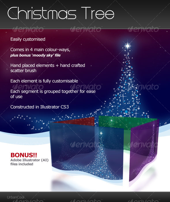 GraphicRiver Christmas Tree Landscape 123027