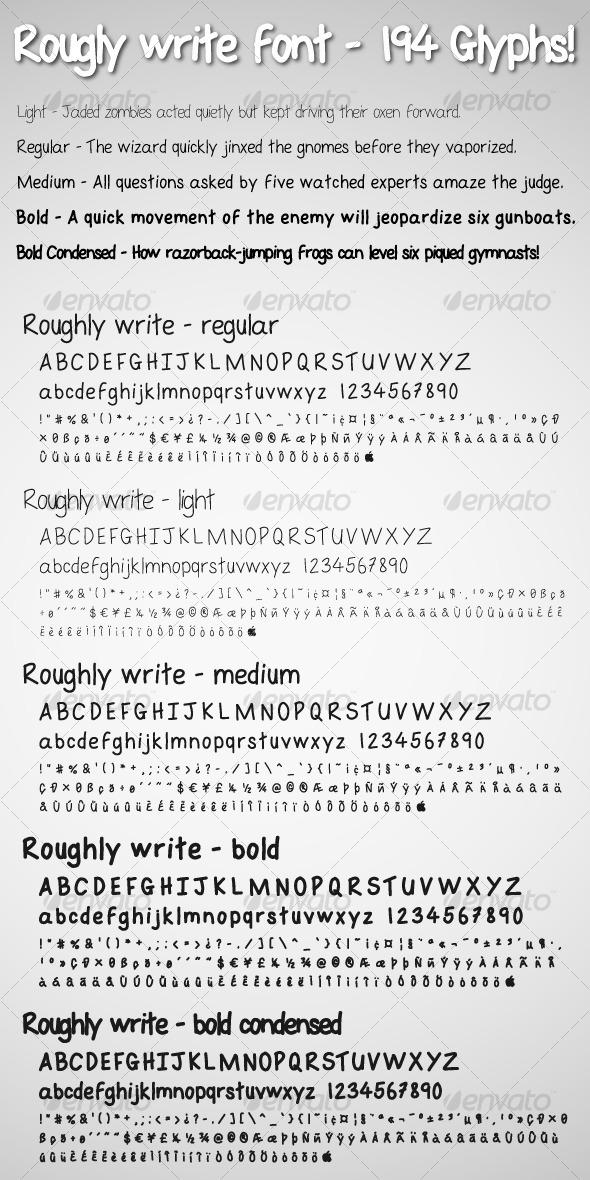 GraphicRiver Roughly Write Set Handwriting 194 glyphs ttf 122800
