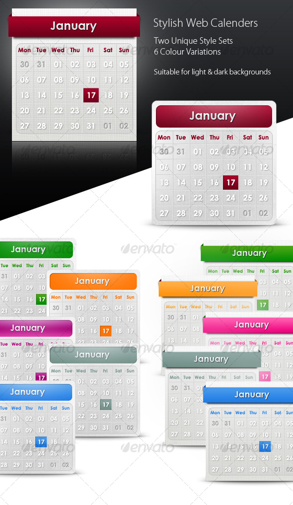 GraphicRiver Stylish Web Calenders date pickers 124324