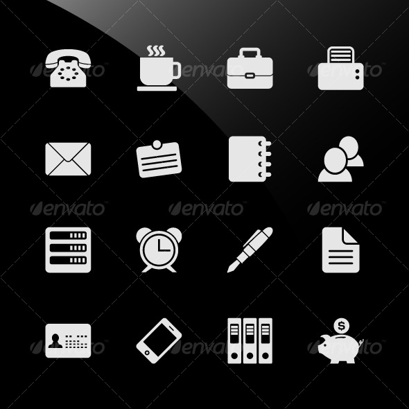 GraphicRiver Office Work Workplace Business Financial Web Icons 124734