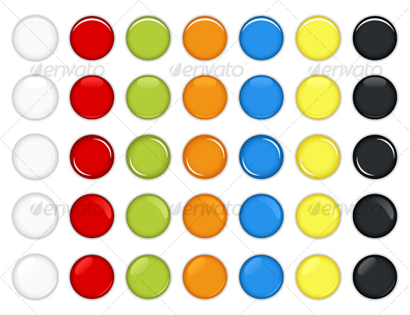 GraphicRiver Colorful Glossy Round Web Buttons Vector 125084