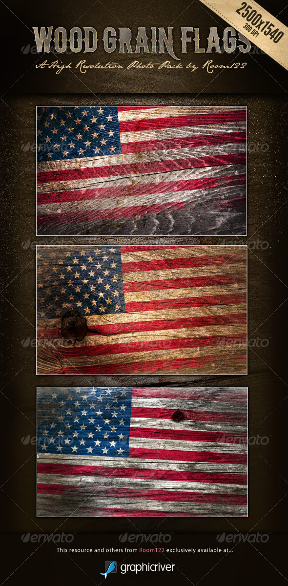 GraphicRiver Wood Grain Flags 125021