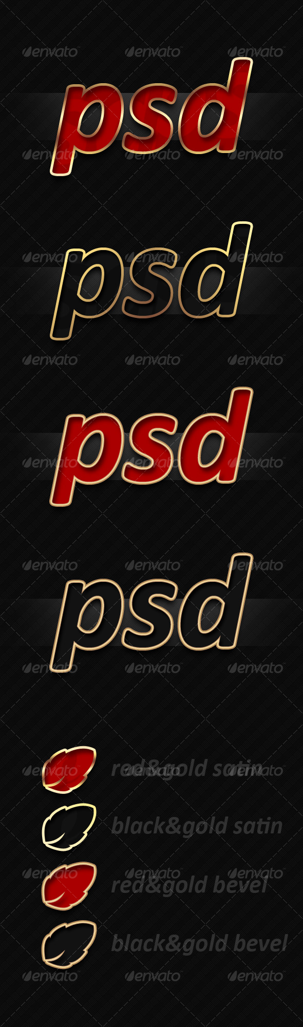 GraphicRiver Red&Gold Layer Styles 125632