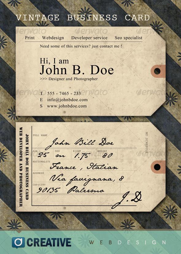 GraphicRiver Vintage ticket Business Card 126428