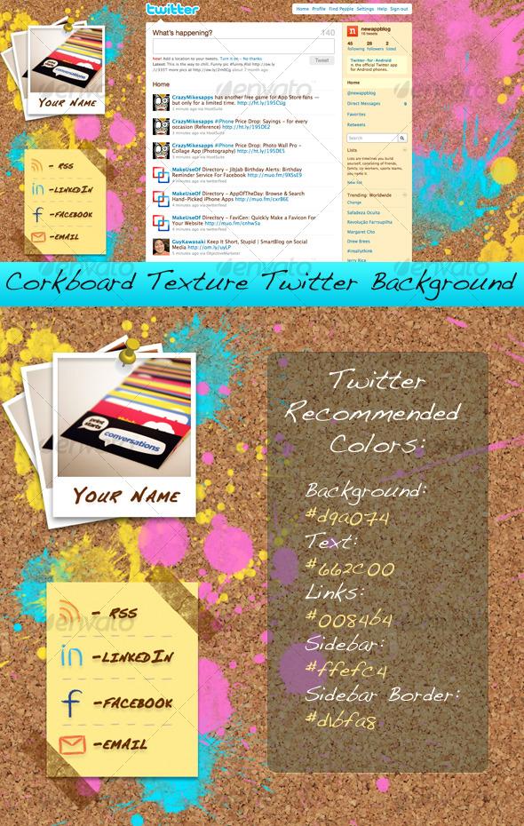 GraphicRiver Corkboard Texture Twitter Background 126441