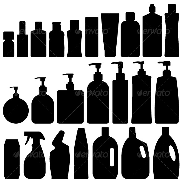 GraphicRiver Bathroom Bottles Silhouette Set Vector 127018