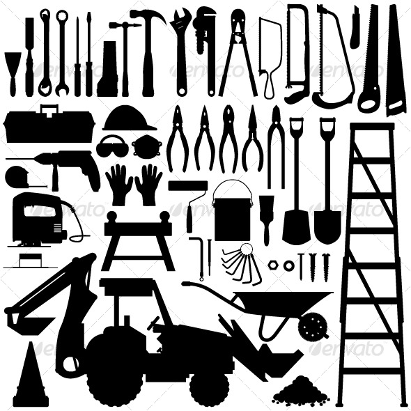 GraphicRiver Construction Tool Silhouette Vector 127103