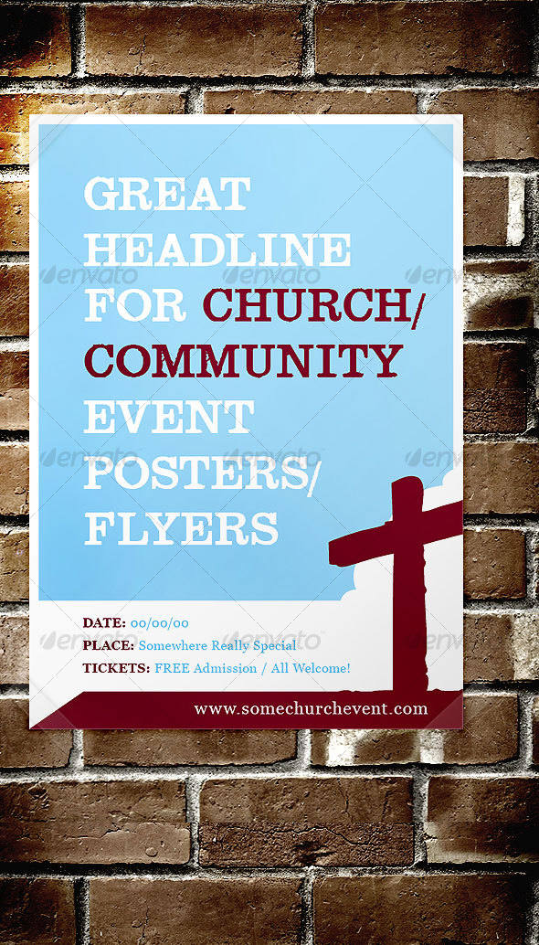 Print template graphicriver church community event for Free flyer templates for church events