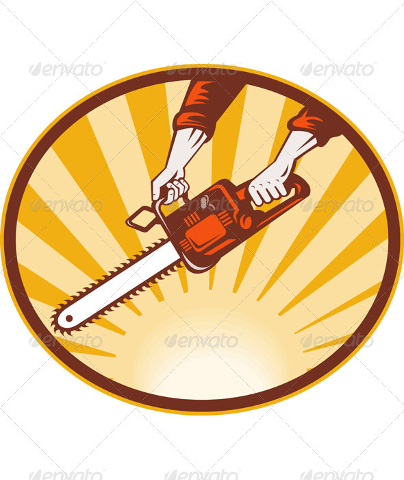 Graphic River Hand Holding A Chainsaw Retro Style Vectors -  Objects 1017192