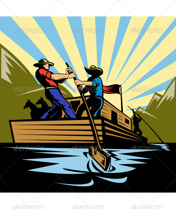 Graphic River Cowboy On Flatboat Floating on River Paddling Vectors -  Characters  People 1017299