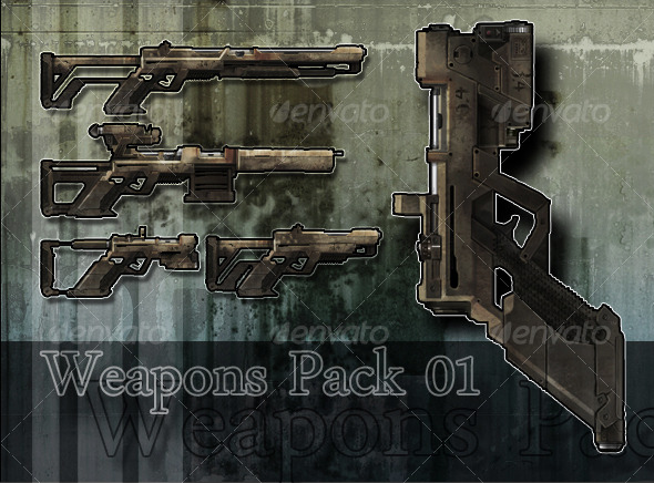 3DOcean Weapon Pack 01 2D Concepts -  Weapons 127783