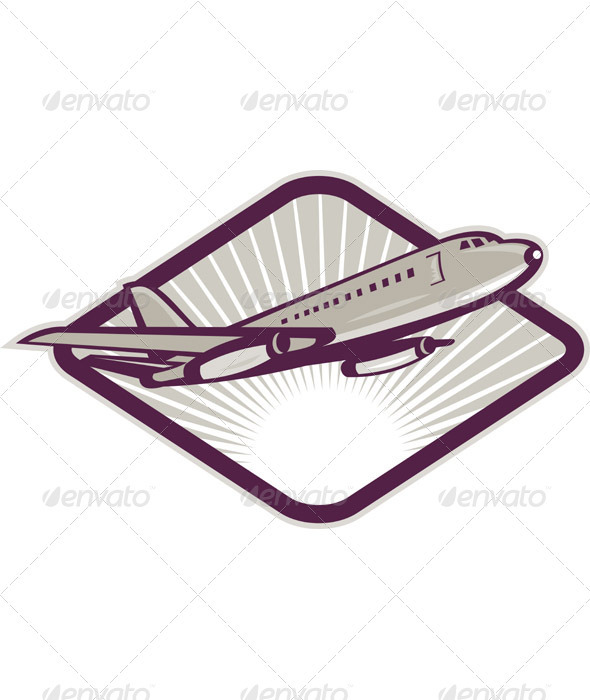 Graphic River Jumbo Jet Plane Taking Off Retro Style Vectors -  Objects 1017849