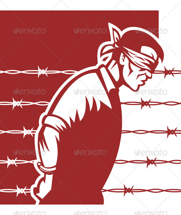 Graphic River Prisoner Of War POW Bliinfolder And Tied Vectors -  Characters  People 1017890