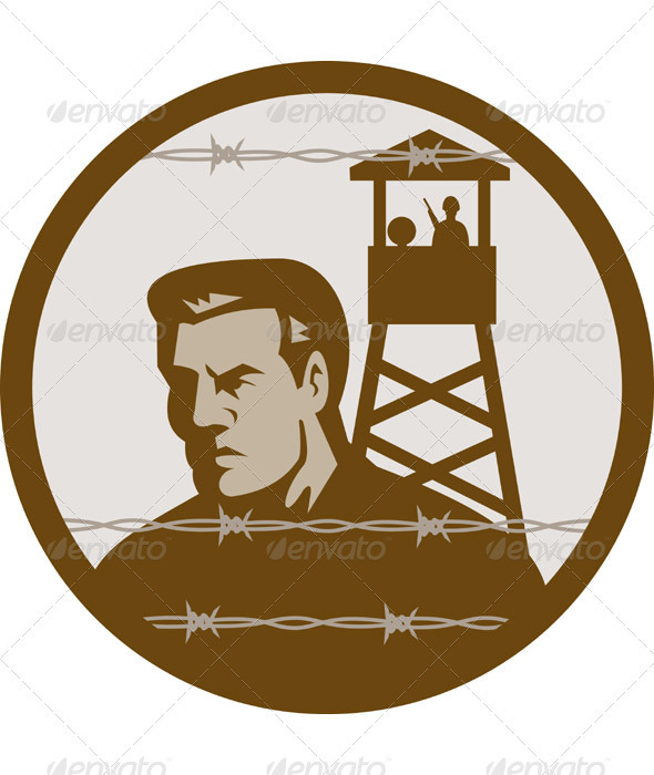 Graphic River Prisoner Of War POW In Concetration Camp Vectors -  Characters  People 1017921