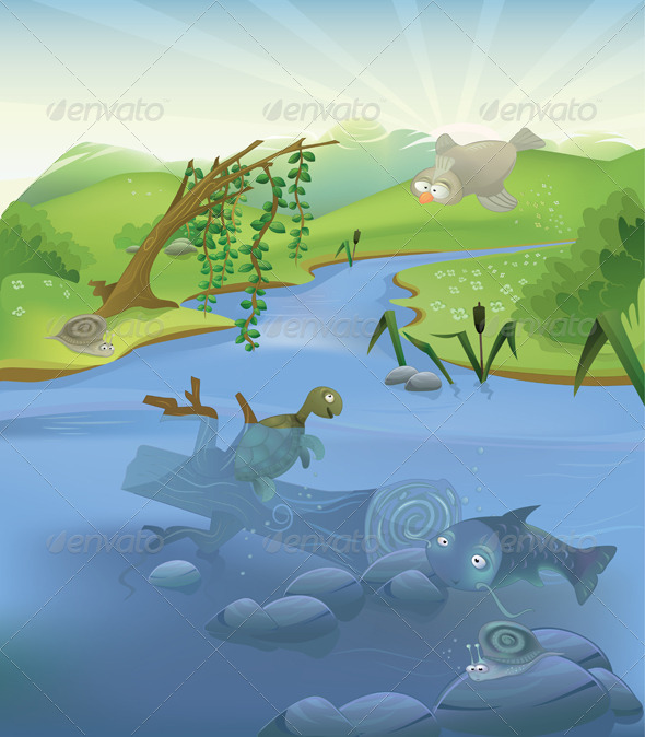 Graphic River Vector landscape with animals Vectors -  Conceptual  Nature  Landscapes 1018179