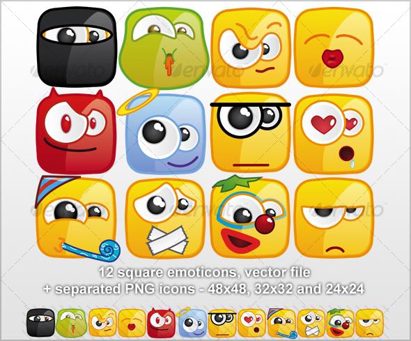 GraphicRiver 12 Square emoticons II 42320