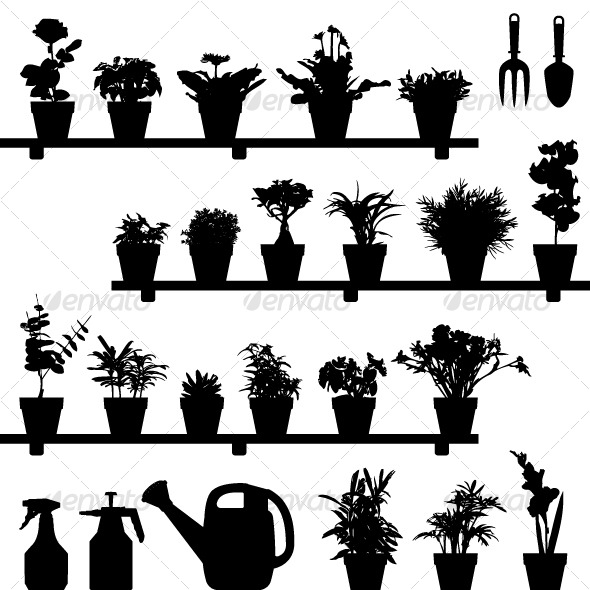 GraphicRiver Flower Plant Pot Silhouette Vector 127997
