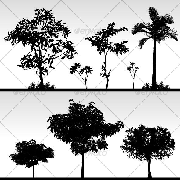 GraphicRiver Tree Bush Grass Silhouette Vector 128037