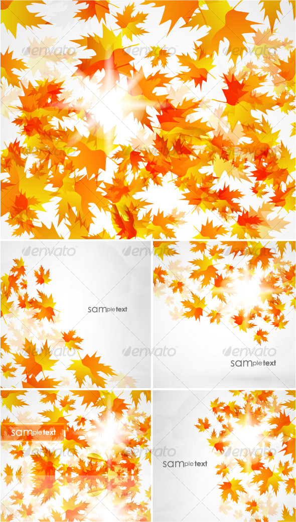 GraphicRiver Flying autumn leaves Vector background pack 128236