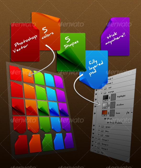 GraphicRiver vibrant sticky notes 128638