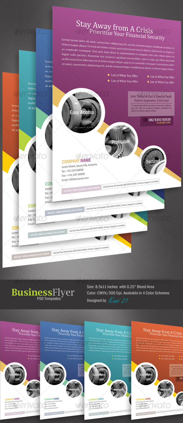 GraphicRiver Business Flyer Template With 4 Color Schemes 128764