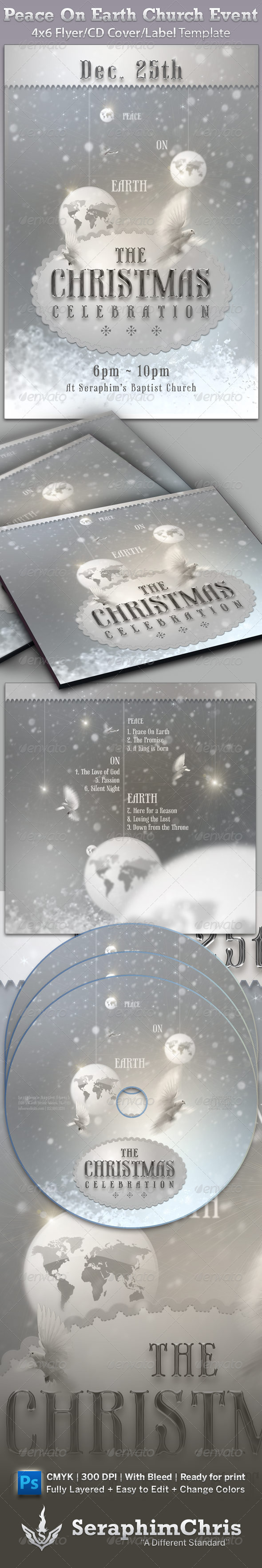 GraphicRiver Peace On Earth Christmas Church Event Flyer and CD 1028337
