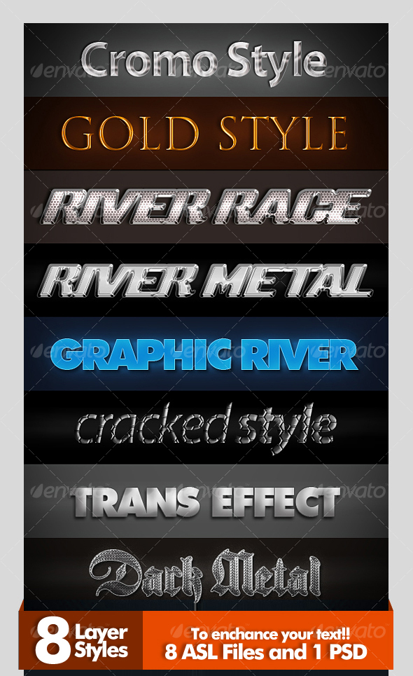 GraphicRiver 8 Amazing Layer Styles 42968