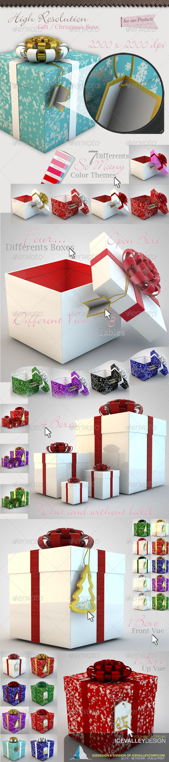 Graphic River 50 Christmas Gift Box Hi Quality Graphics -  Backgrounds  3D 1042563
