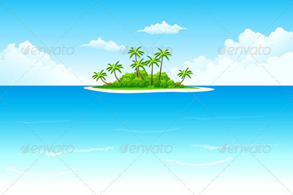 Graphic River Tropical Island Vectors -  Conceptual  Nature  Landscapes 1042904
