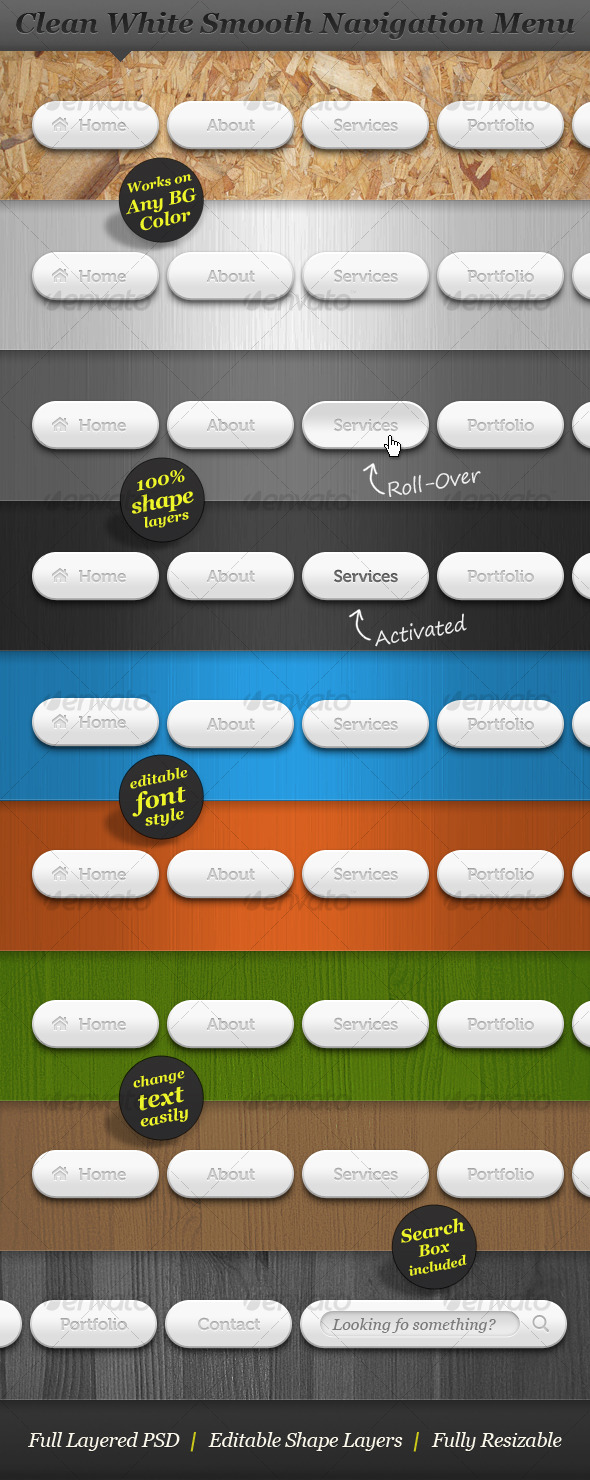 GraphicRiver Clean White Smooth Navigation Menu Web Buttons 130595