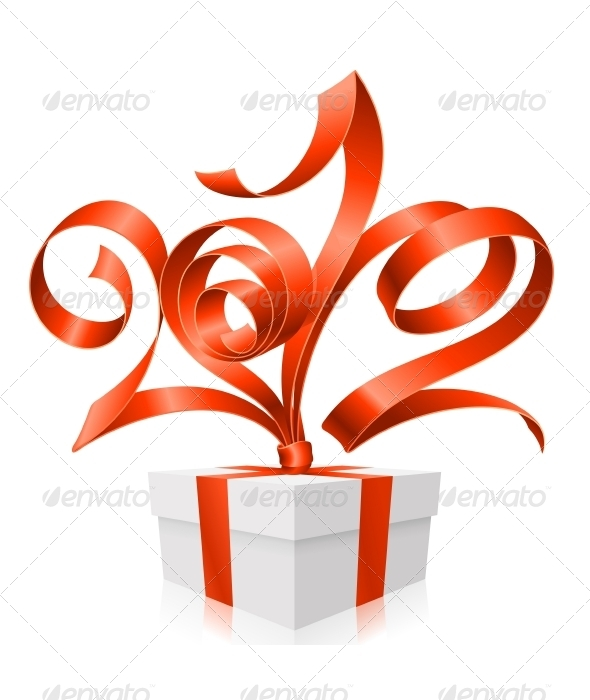 Graphic River Vector Gift Box and Red Ribbon in the Shape 2012 Vectors -  Conceptual  Seasons/Holidays  Christmas 1046365