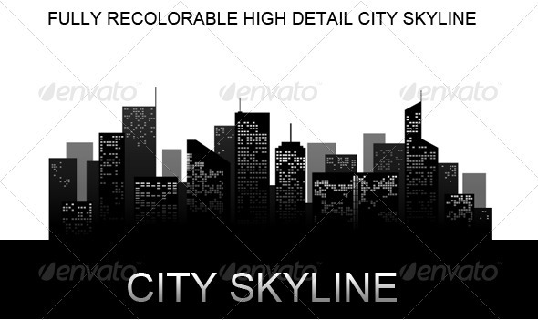 Graphic River City Skyline Vectors -  Objects  Buildings 1047669