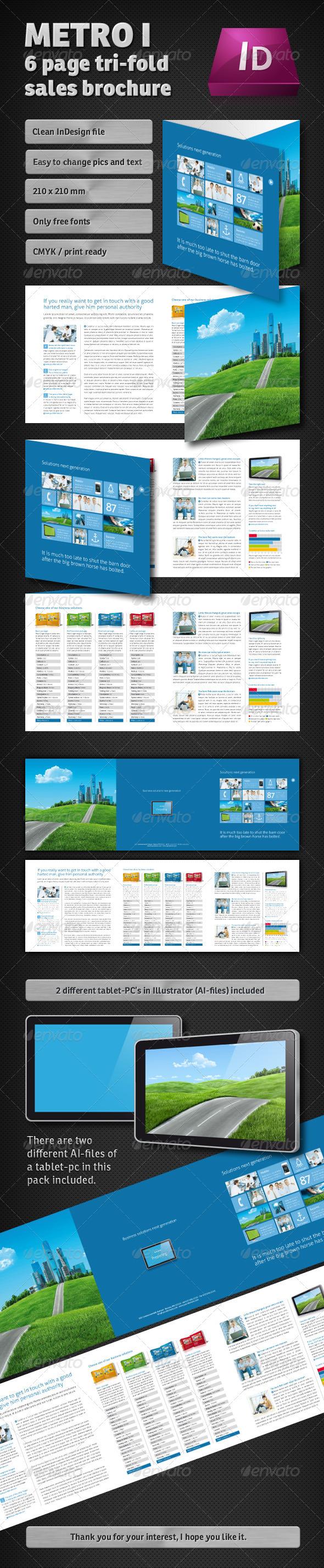GraphicRiver Metro I 3 Page Tri-fold Sales Brochure 1047957