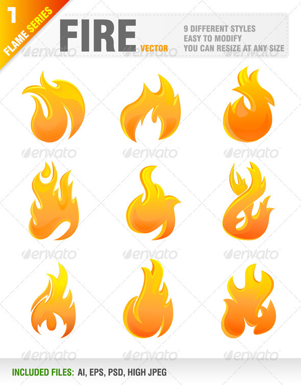 Graphic River Fire Elements Vectors -  Decorative  Decorative Symbols 1047973
