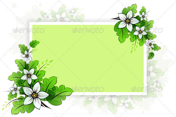 Graphic River Frame with Flowers Vectors -  Conceptual  Nature  Flowers & Plants 1048573