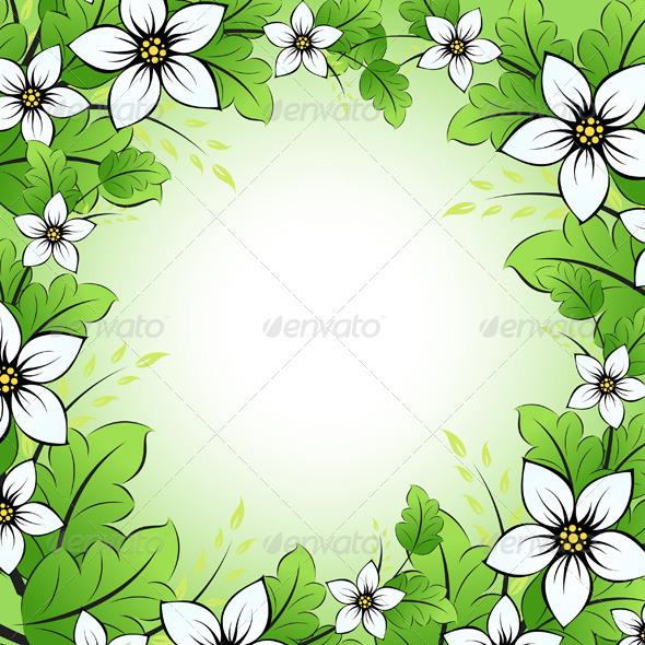 Graphic River Flower Frame Vectors -  Conceptual  Nature  Flowers & Plants 1048587