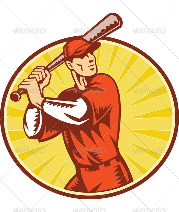 Graphic River Baseball Player With Bat Batting Retro Style Vectors -  Conceptual  Sports/Activity 1048878