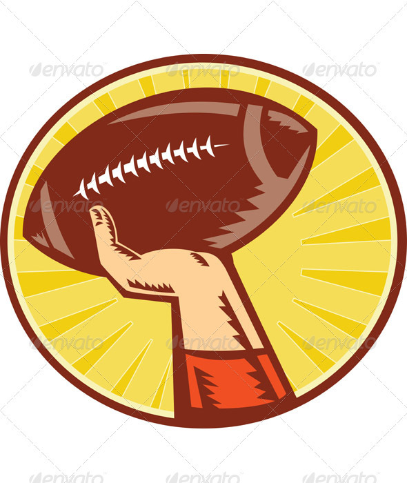 Graphic River American Football Player Hand Throwing Ball Retro Vectors -  Conceptual  Sports/Activity 1049020
