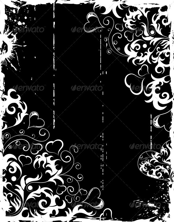 Graphic River Valentines Day grunge frame with hearts and flower Vectors -  Conceptual  Seasons/Holidays  Valentines 1049933