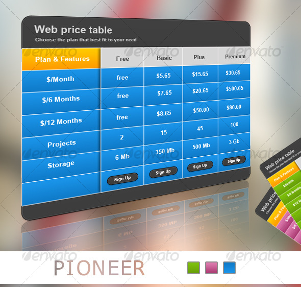 GraphicRiver Pioneer Web Pricing Table 131253
