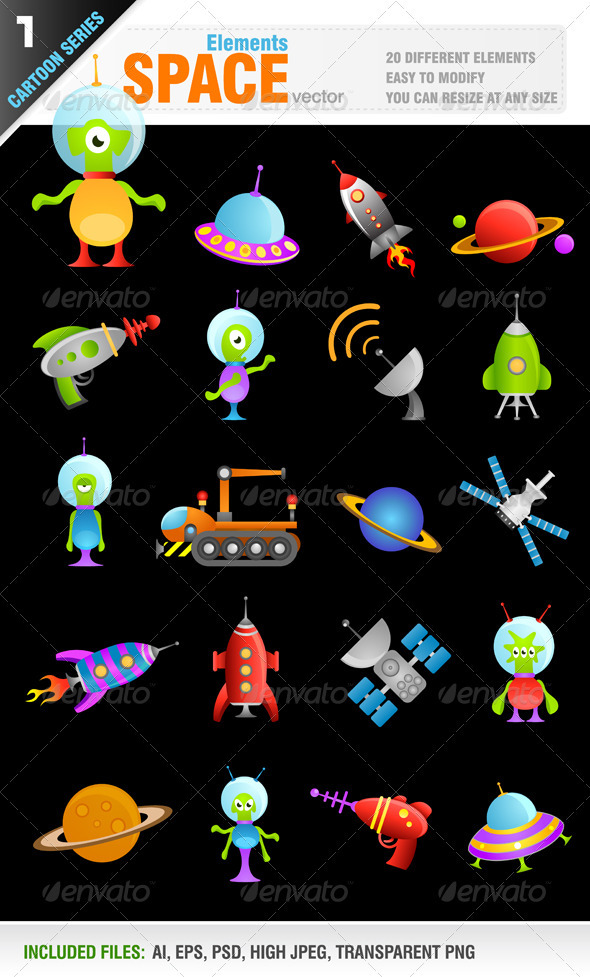 Graphic River Cartoon Space Elements Vectors -  Characters 1054013