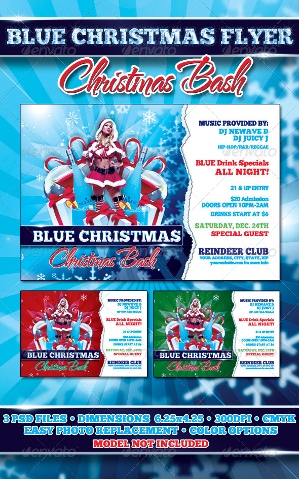 Graphic River Blue Christmas Flyer Template Print Templates -  Flyers  Events  Clubs & Parties 1055015